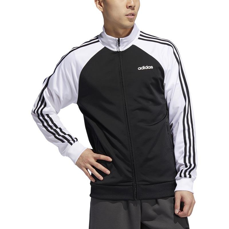 Adidas Mens Essentials 3 Stripes Track Jacket black white