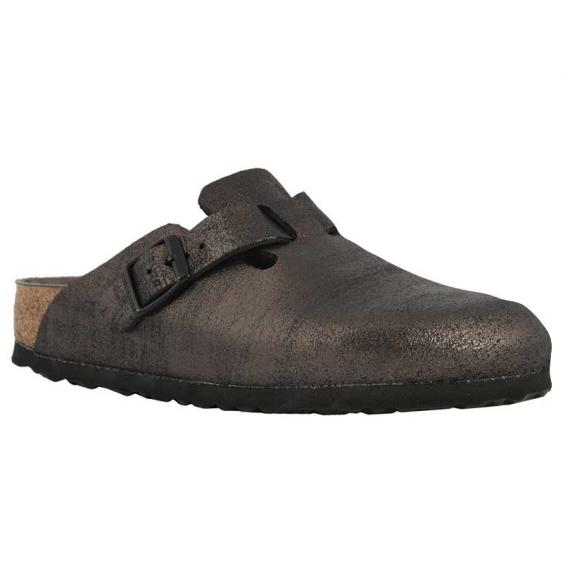 Birkenstock Boston Washed Metallic Antique Black 1011-284 (Women's)