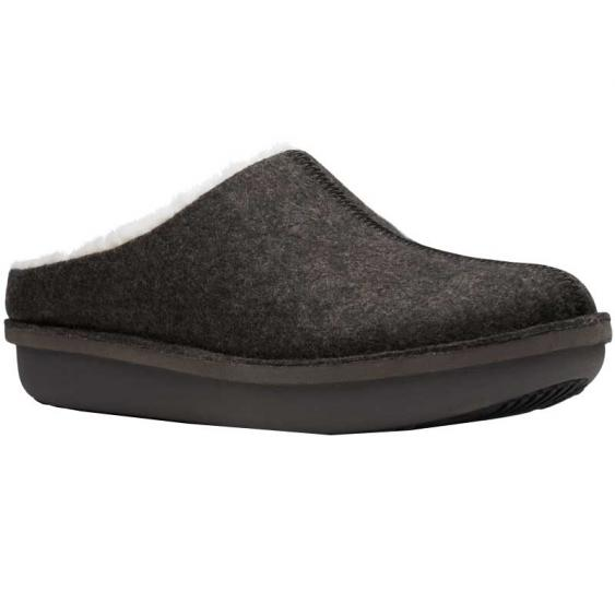 Clarks Step Flow Clog Black Felt 26146909 (Women's)