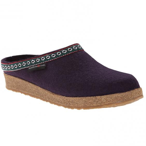 Haflinger GZ12 Classic Wool Grizzly Clog Eggplant (Women's)