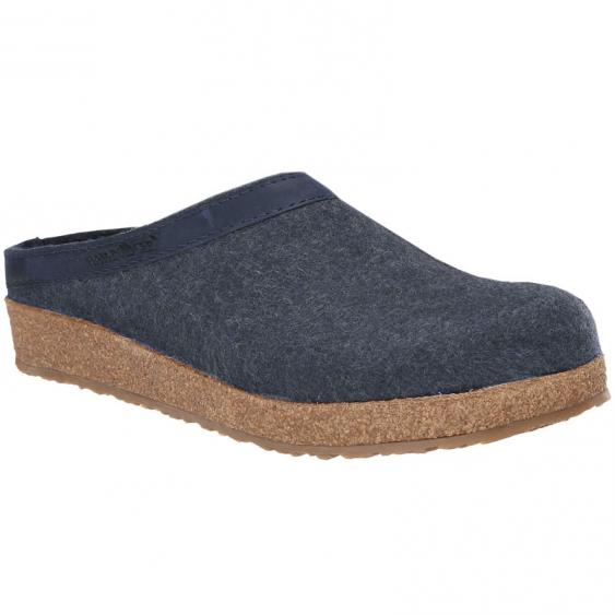 Haflinger GZL79 Grizzly Wool Clog Leather Trim Capt. Blue (Women's)