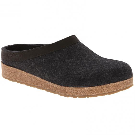 Haflinger GZL44 Grizzly Wool Clog Leather Trim Charcoal (Unisex)