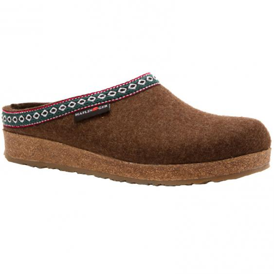 Haflinger GZ65 Classic Wool Grizzly Clog Chocolate (Unisex)