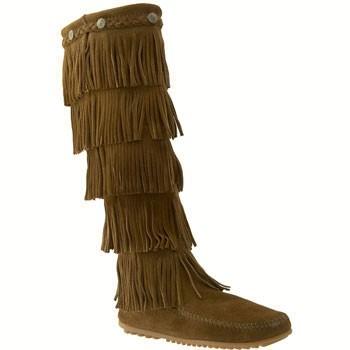 Minnetonka 5-Layer Fringe Boot Dusty Brown Suede 1658 (Women's)