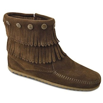 Minnetonka Double Fringe Side Zip Boot Dusty Brown 693 (Women's)