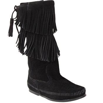 Minnetonka Calf Hi 2 Layer Fringe Boot Black Suede 1689 (Women's)