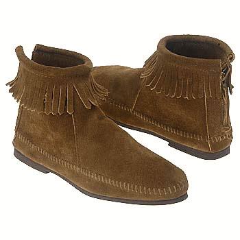 Minnetonka Back Zip Boot Dark Brown Suede 283 (Women's)