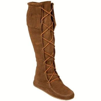 Minnetonka Knee-Hi Front Lace Moc Dark Brown Suede 1428 (Women's)