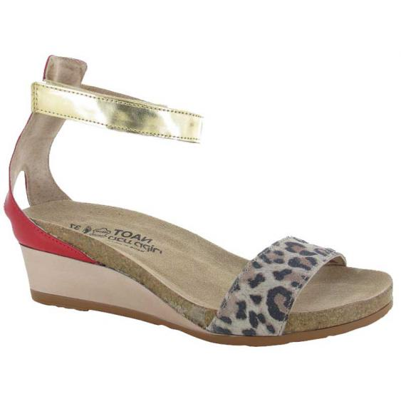 Naot Pixie Cheetah Suede/ Kiss Red Leather/ Gold Leather 5016-SIJ (Women's)