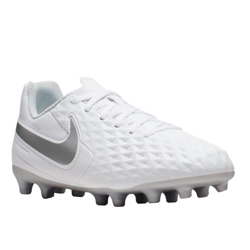 Precio al por mayor 2019 detalles para correr zapatos Nike Legend 8 Club FG/MG White/ Chrome/ Grey AT5881-100 (Youth)