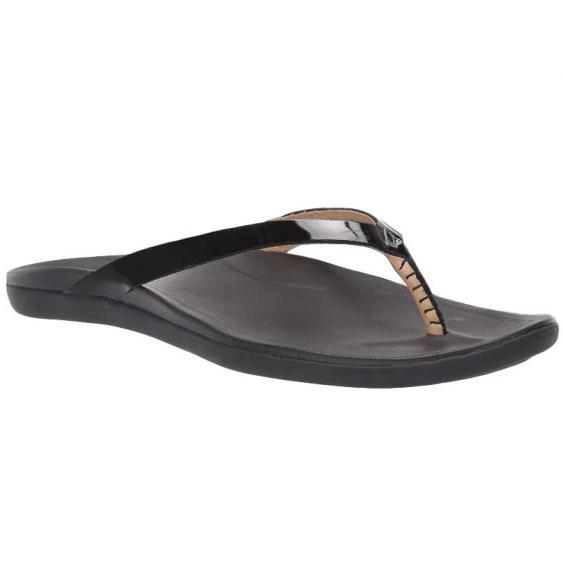OluKai Ho'Opio Leather Black 20290-4040 (Women's)