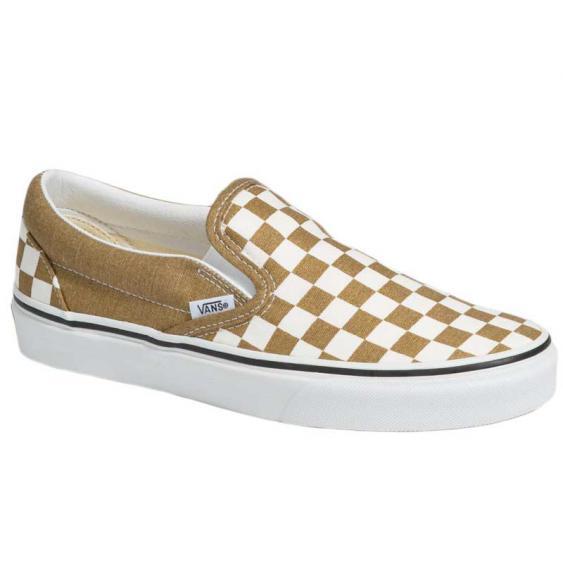 Vans Classic Slip-On Checkerboard Bronze Age Sparkle/True White VN0A33TB9EY (Women's)