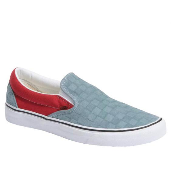 Vans Classic Slip-On Lead/ Pompeian Red Deboss Checkerboard VN0A4U38WS6 (Men's)