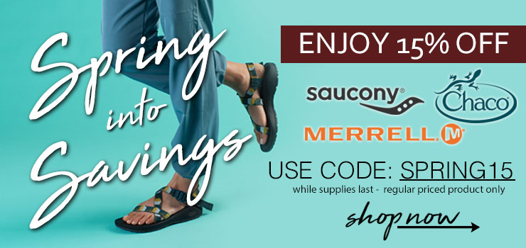 Shop 15% Off Regular Priced Merrell, Chaco, and Saucony Product