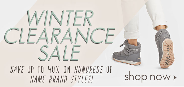 WINTER CLEARANCE SALE – SAVE UP TO 40% ON HUNDREDS OF NAME BRAND STYLES